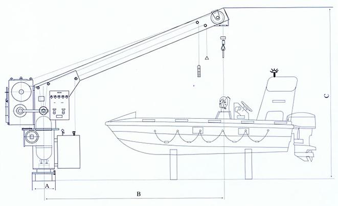 Single Arm Rescue Boat Davit Supplier, China Marine Davit