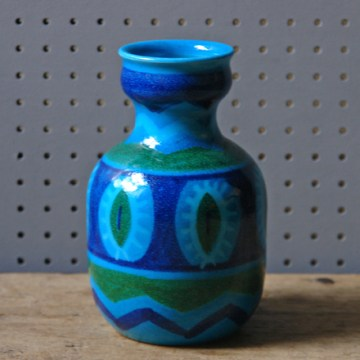 Blue and green glazed vintage pottery vase | H is for Home