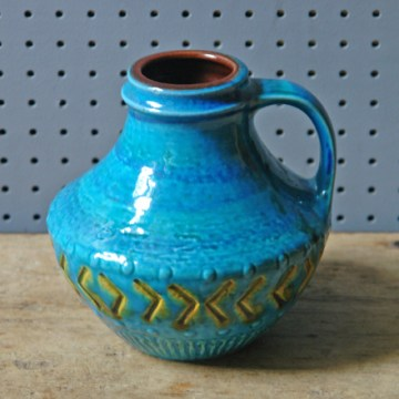 Blue vintage West German vase by Carstens   H is for Home