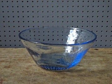 Blue vintage Whitefriars controlled bubble bowl | H is for Home