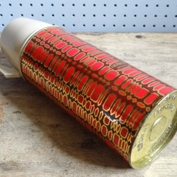 Boxed red patterned Thermos vacuum flask