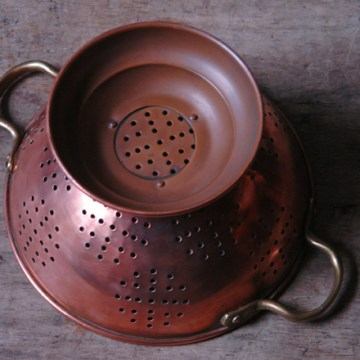 Vintage copper colander | H is for Home