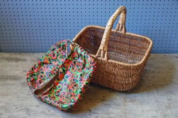 Vintage covered picnic basket