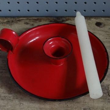 red enamel candle holder