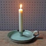 vintage mint enamel candleholder
