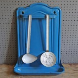Blue enamel utensil rack