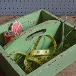 Green wooden carry box