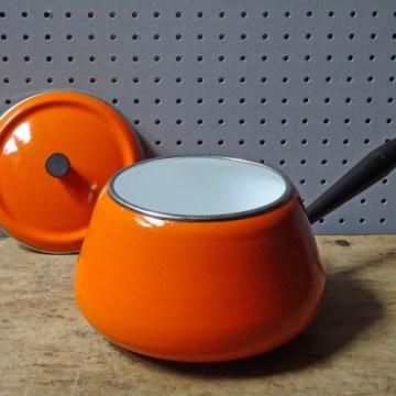 Orange vintage enamel fondue pan | H is for Home