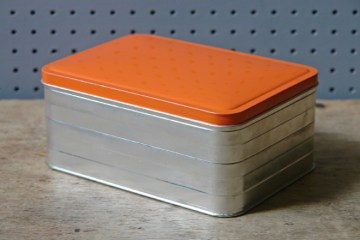 Orange vintage sandwich tin | H is for Home