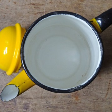 Vintage Poland yellow enamel coffee pot | H is for Home