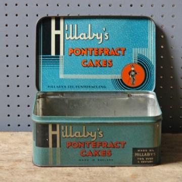 Blue Pontefract cakes tin