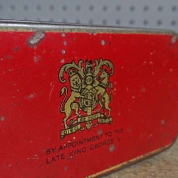 vintage red Macfarlane's biscuit tin