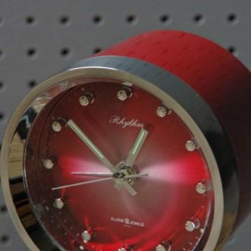 Red vintage Rhythm pedestal alarm clock   H is for Home
