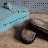 Blue metal shoe and boot cleaning box