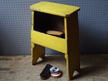 Yellow-painted vintage shoe polishing stool   H is for Home