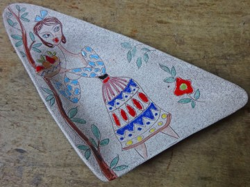 Triangular pottery lady dish | H is for Home
