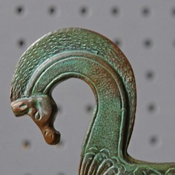 Vintage verdigris brass horse