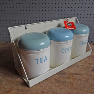 Vintage Worcester Ware storage tin set with shelf