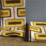 yellow and brown op art curtains