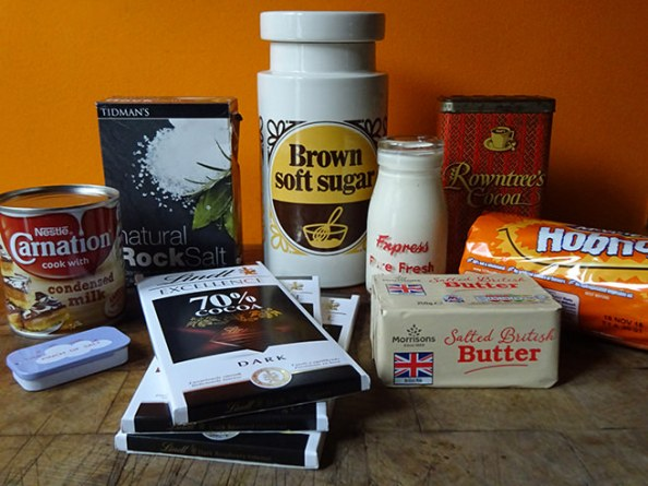 Home-made chocolate fudge tart ingredients