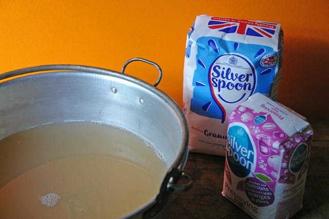 Strained juice and bags of sugar | H is for Home