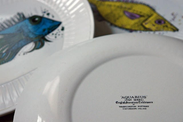 Back stamp on a vintage Aquarius fish plate | H is for Home
