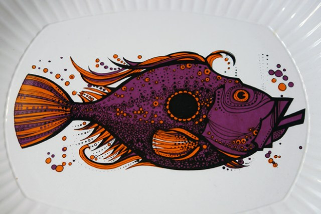 Detail from a purple & orange Aquarius fish plate | H is for Home
