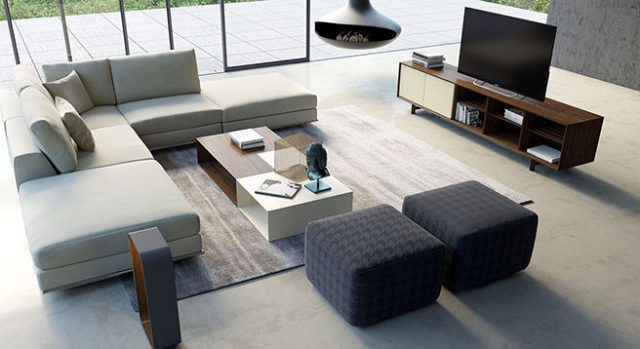 Open plan sitting room with L-shaped sofa