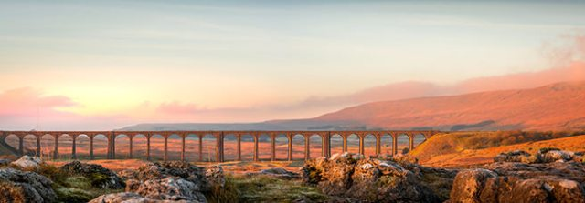 Panoramic photograph of Ribblehead Viaduct in Yorkshire