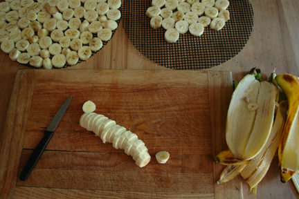 sliced bananas on a chopping board