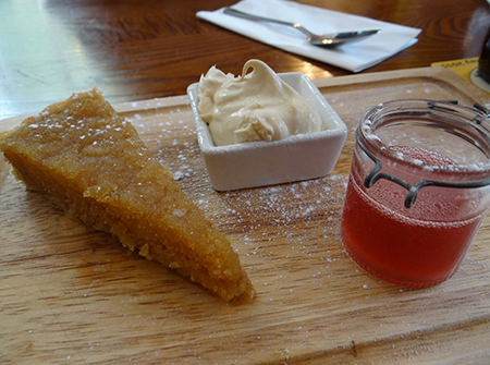 treacle tart with raspberry coulis at the Brown Cow, Bingley