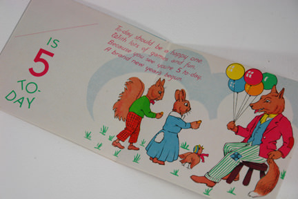 interior view of 5 years old vintage birthday card