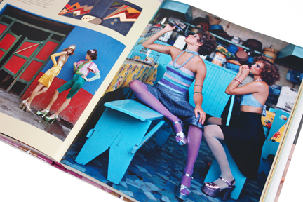 "page from the book, ""70s Style & Design"" showing models wearing colourful clothes & platform sandals"