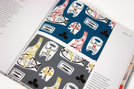 "page from the book entitled ""1950s Fashion Prints"" by Marnie Fogg showing vintage 1950s fabric with figurative print"