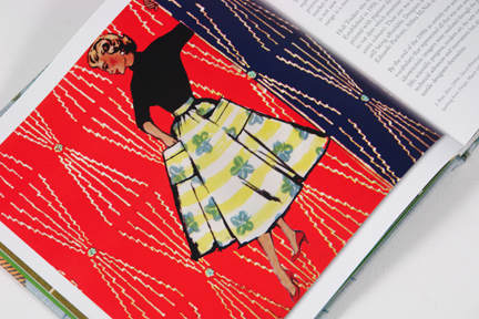 "page from the book entitled ""1950s Fashion Prints"" by Marnie Fogg showing illustrated female figure dressed in the New Look style in 1950s printed fabric"