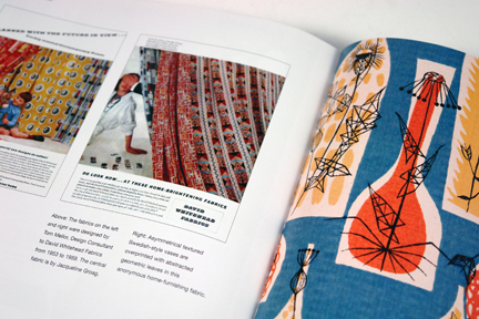 "page from the book entitled ""1950s Fashion Prints"" by Marnie Fogg showing vintage 1950s fabric with leaf print"