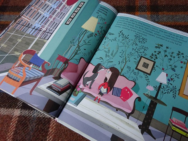 'Queenie in London' page in Home Sweet Home by Mia Cassany and illustrated by Paula Blumen
