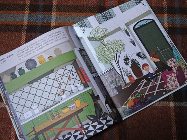 'Juan in Seville' page in Home Sweet Home by Mia Cassany and illustrated by Paula Blumen