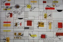 Jacqueline Groag bird design showing fine-lined grid patterns