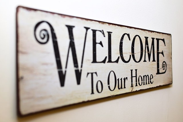 Welcome to our home painted sign
