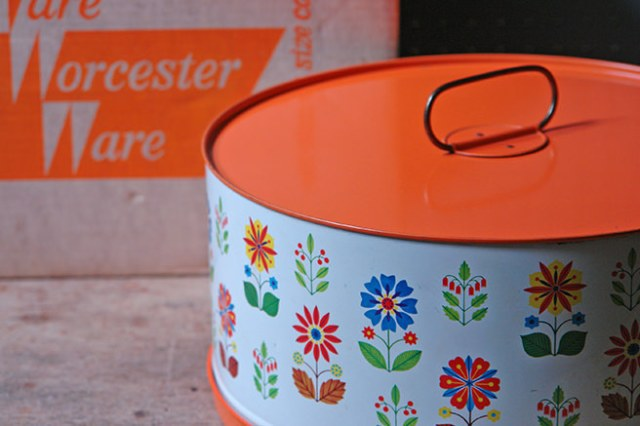 Large orange floral vintage Worcester Ware cake tin with original box   H is for Home