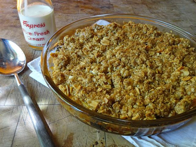 Home-made apple and sultana crumble with little bottle of pouring cream | H is for Home