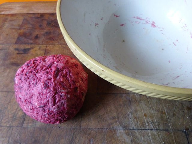 Ball of beetrot loaf dough | H is for Home