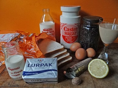 boozy bread and butter pudding ingredients