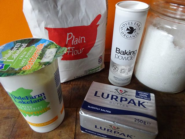Home-made butter-dipped biscuits ingredients