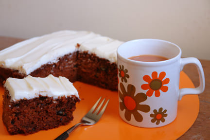 slice of carrot cake with tea in a vintage Staffordshire Potteries mug