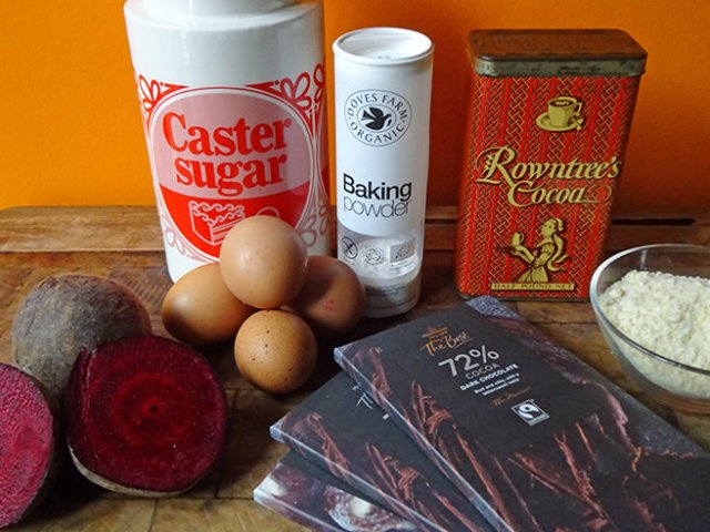 Home-made chocolate and beetroot cake ingredients