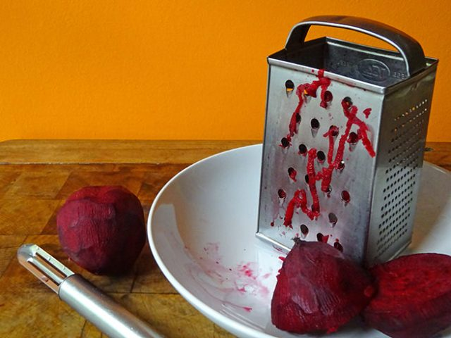 Grating fresh beetroot | H is for Home