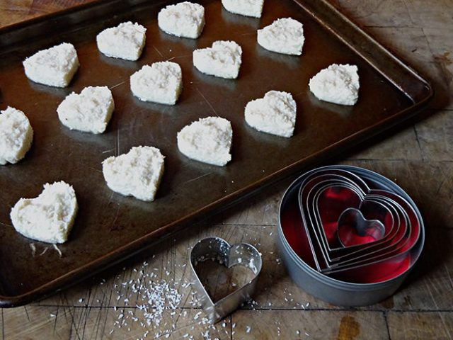 Coconut macaroons mixture formed into hearts | H is for Home