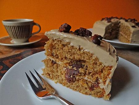 Slice of coffee and pecan cake